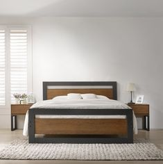 This stylish and contemporary Sinquefield Bed Frame design is something to behold. Perfect for any ages and its borders can tie any room together. Wood Beds, Metal Beds, Bedroom Furniture, Furniture Design, Bedroom Decor, Bed Frame Design, Wood Bed Design, Upholstered Bed Frame, Upholstered Ottoman