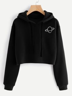 SheIn offers Planet Print Hoodie & more to fit your fashionable needs. Teen Fashion Outfits, Mode Outfits, Outfits For Teens, Trendy Outfits, Girl Outfits, Ootd Fashion, Tween Fashion, Fashion Black, Fashion Women