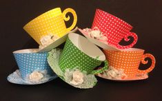 This listing is for 10 Tea Cup cupcake holder or party favor in Polka dot (Red, Blue, Green, Yellow, Orange) the pictured colors. Two of each color