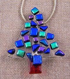 Dichroic Fused Glass CHRISTMAS TREE PIN Blue Purple Teal Green Dots Multicolor