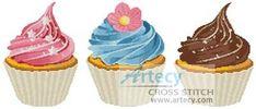 Cupcakes cross stitch pattern.