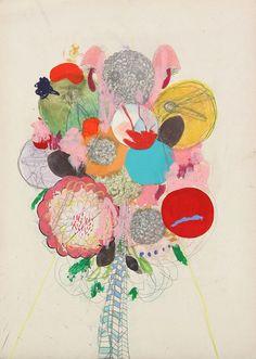 Pretty mixed media art bouquets by simone schubuck