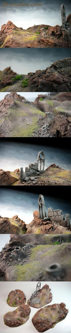 Hills, Landscape, Rocks, Ruins, Terrain