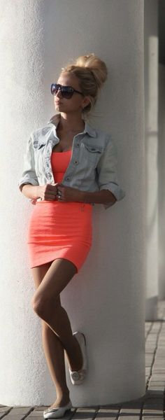 @BlackCoral4you  http://blackcoral4you.wordpress.com/  neon pop of color dress w/ jean vest. perfect for vegas during the days:)