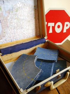 Make toy car roads with old jeans!