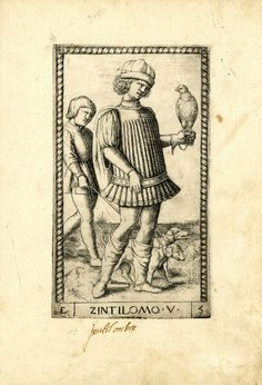 WL male figure turned slightly to r; a falcon sitting on his l hand; a servant at far l with two dogs on a leash; after the so-called Tarocchi Cards of Mantegna.  Engraving