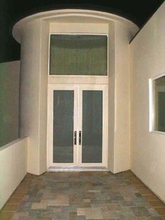 """Model: BP-450 Double Entry Door, Size: 5′ W x 8′ H Frame: Beige Powder Coated Frame Glass: 1/4"""" Laminated Obscured: White Starfire Location: Malibu, CA 90265"""
