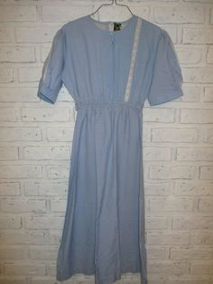57238ef5bf Vintage 1950 s Blue Day Dress Cotton Day Dress Size 34 Lace Blue Grey Small