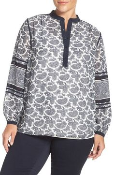 MICHAEL Michael Kors 'Woodbrook' Print Henley Top (Plus Size) available at #Nordstrom
