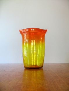 Large Mid Century Blenko Flame Glass Vase by luola on Etsy