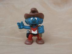 PVC Smurfs Cowboy Figure Vintage 1981 Peyo by MendozamVintage