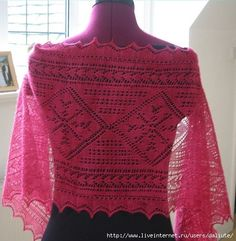 Crochet Knitting Handicraft: Red Knit Shawl