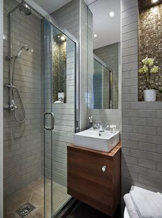 Tiny en-suite shower room with oodles of character and storage. Bathroom design by Nicola Holden Designs. Compact Shower Room, Small Shower Room, Compact Bathroom, Brick Bathroom, Downstairs Bathroom, Bathroom Styling, Bathroom Interior Design, London City, Small Bathroom Renovations