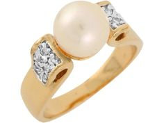 14k Two Tone Gold Freshwater Cultured Pearl White CZ Elegant Ladies Ring (Style#8088), Women's, Size: 9.5