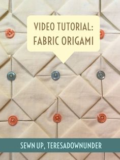 Video tutorial: Fabric origami - fabric manipulation How to make this diamond fabric manipulation Watch this short 3 minute video and learn: Materials One 18 inch square in white Small buttons or beads This origami fabric manipulation can be used on … Origami Design, 3d Origami, Fabric Origami, Useful Origami, Origami Folding, Origami Lamp, Fabric Manipulation Tutorial, Textile Manipulation, Fabric Manipulation Techniques