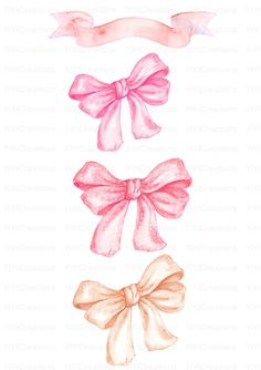 Watercolor hand painted Bows clipart Gold and Pink Coral and Bow Clipart, Bow Wallpaper, Spring Painting, Gift Bows, Cute Illustration, Ribbon Bows, Photoshop, Floral Watercolor, Cute Wallpapers