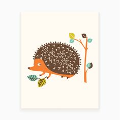 Woodland Hedgehog Art Print