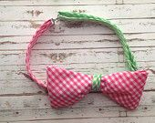 Fully Adjustable Mens Bowtie in Pink and Green Gingham!! Only $14.99!!!!  www.etsy.com/shop/modebows
