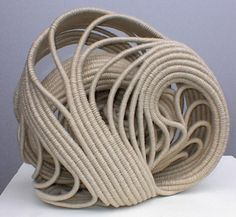 Ellen Dickinson | 'Coxcomb. Basketry stitch. Unbleached linen and poly cord.