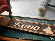 Making a leather dog collar for a white shepherd Luna! All handmade and handtooled by Jeweleeches Vivian Hebing! Do you want to see more of my work, you can find me on Facebook, Youtube or Etsy too! On Youtube you can see my tutorial video's!  https://www.facebook.com/Jeweleeches-Leather-590315601013484/timeline/