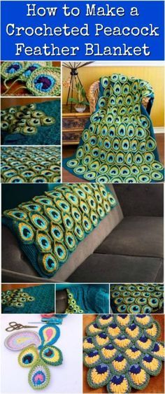 How to Make a Crocheted Peacock Feather Blanket {Free Video Tutorial}