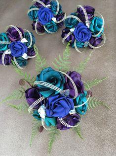 Paua bridal wedding bouquets created from flax flowers. Wedding Pew Decorations, Wedding Pews, Wedding Bouquets, Flax Weaving, Flax Flowers, Flower Power, Flower Arrangements, Special Occasion, Weddings