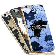 Jon Snow Game of Throne Wolf Map Soft TPU Silicon Phone Case for iPhone 7 6 6S Plus 4 4S 5C 5 SE 5S Cover
