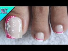 DISEÑO DE UÑAS FLOR PARA PRINCIPIANTES ¡MUY FÁCIL! - FLOWERS NAIL ART - NLC - YouTube Pedicure Colors, Pedicure Designs, Pedicure Nail Art, Toe Nail Designs, Nail Colors, Purple Nail Designs, Flower Nail Designs, Simple Nail Art Designs, Nail Art Pieds