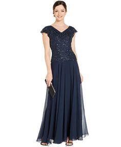 J Kara Flutter-Sleeve Embellished Popover Gown