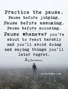 Practice the pause. Pause before judging. Pause before assuming. Pause before accusing. Pause whenever you're about to react harshly and you'll avoid doing and saying things you'll later regret. Words Quotes, Me Quotes, Motivational Quotes, Funny Quotes, Inspirational Quotes, Sayings, Doers Of The Word, Most Powerful Quotes, Spiritual Messages