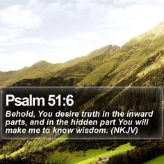 Psalm 51:6 Behold, You desire truth in the inward parts, and in the hidden part You will make me to know wisdom. (NKJV)  #Gracious #Blessed #Hope #Hope #Lamb #TheTruth #WordOfGod http://www.bible-sms.com/