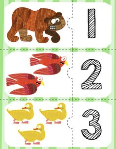 Free counting puzzles for numbers 0-10 using the characters from Brown Bear. Package comes in color and black & white.