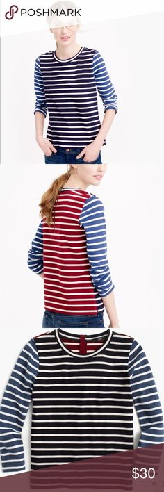 ✨J. Crew MIXED STRIPED TSHIRT✨ NWT A fun mix of stripes, stripes and more stripes. It's our colorful twist on a classic shirt.  Cotton. Back zip. Three-quarter sleeves. Machine wash. ‼️PRICE FIRM‼️ J. Crew Tops