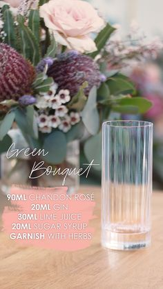 A sparkling cocktail, that explodes with botanicals. Chandon Rosé blended with mint, dill, basil and lime, served in a highball with a bouquet of fresh aromatic herbs. Aromatic Herbs, Edible Flowers, Lime Juice, Wines, Basil, Champagne, Cocktails, Bouquet, Bloom