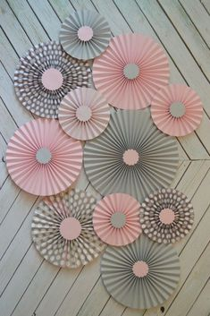 Use boy neutral colors blue, green, Grey and Polka Dot paper fans/rosettes with paper flowersLove the color tone and the design.~ It's a Colorful Life ~ — Colors ~ Pink and GrayPink and Gray Elephant Baby Shower ideas wedding purple and sil Baby Shower Decorations For Boys, Baby Shower Themes, Shower Ideas, Elephant Decorations, Grey Baby Shower, Baby Boy Shower, Papier Diy, Diy Backdrop, Elephant Baby Showers
