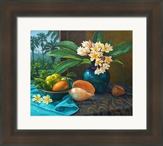 Frangipannis And Sea Shells Framed Print By Fiona Craig - framing suggestion.