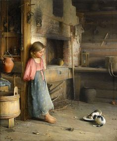 Ivan Lavrentievich Gorokhov (Russian painter) 1863 - 1934 A Girl with Kittens, 1895 Russian Painting, Russian Art, Classic Paintings, Beautiful Paintings, Art And Illustration, Wow Art, Classical Art, Fine Art, Oeuvre D'art