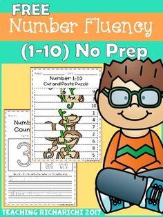 FREE Number Fluency 1-10 NO PREP