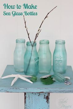 to Make Sea Glass Bottles How to make sea glass colored bottles with Mod Podge, food coloring and bottles from Michaels.How to make sea glass colored bottles with Mod Podge, food coloring and bottles from Michaels. Wine Bottle Crafts, Mason Jar Crafts, Bottle Art, Mason Jars, Starbucks Bottles, Starbucks Glass Bottle Crafts, Deco Marine, Diy Recycling, Upcycle
