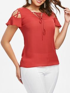 Lattice Cut Short Sleeve Blouse - Fire Engine Red S Mobile Cheap Blouses, Red Blouses, Bell Sleeve Blouse, Short Sleeve Blouse, Sleeve Designs, Blouse Designs, Short Summer Dresses, Moda Chic, Cheap Clothes Online