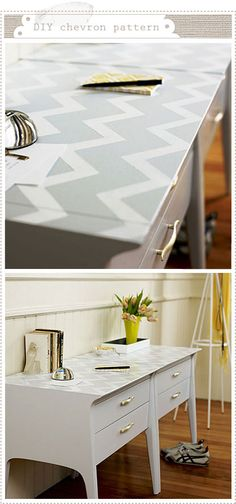 Chevron top to table -- Love this!! I'm really going to do this for my desk in my room. :)