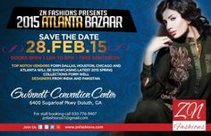 ZN Fashions is excited to be back in Atlanta after one year interval and guess what we are bringing, an eye-popping bazaar with extravagant clothing and elegant jewelry. Come to the bazaar and be captivated by the friendly atmosphere and astounding environment at Gwinnett Center, Duluth on Saturday February 28,2015.  There will be FREE PARKING and FREE ADMISSION. Top notch vendors from all over USA will showcase their 2015 Spring /Summer collection of well known designers from the sub…