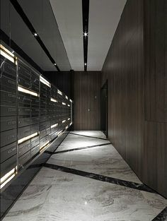 Get Award Winning Design Ideas in Seconds Floor Design, Ceiling Design, House Design, Light Architecture, Interior Architecture, Mail Room, Hotel Corridor, Corridor Lighting, Elevator Lobby