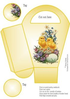 Vintage Easter Chicks Gift Bag Box 3 on Craftsuprint designed by Wendy Colledge