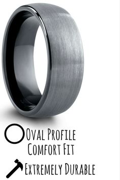 9cf458b9fad2 8mm OR 6mm Brushed Domed Tungsten Wedding Ring With Black Polish Inside
