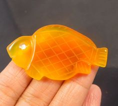 60 Cts. 100% Natural Botswana Agate Dual Side Fish Carving Gemstone (LO50) #NagmaGems