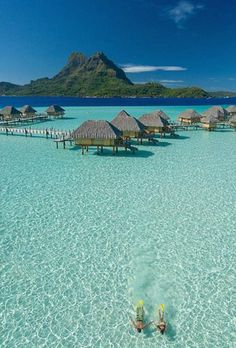 My dream vacation is to go to Bora Bora & stay in a an over water bungalow! Great Vacation Spots, Vacation Places, Vacation Trips, Dream Vacations, Beautiful Places In The World, Beautiful Beaches, Pearl Beach Resort, Beaches In The World, Vacation Pictures