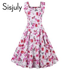 Sisjuly vintage dress women floral print party dress sexy flower 1950s pin up dress vestido de festa fashion style women dresses