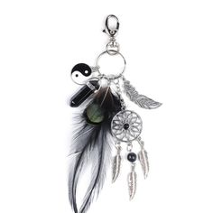 2017 Fashion Black Opal Stone Keyring Silver Feather Dreamcatcher Keychain Bag Car Keychain Women Jewelry-in Key Chains from Jewelry & Accessories on Aliexpress.com   Alibaba Group