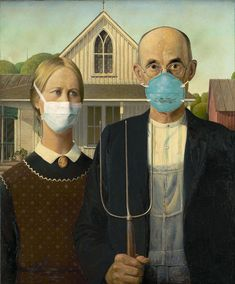 American Gothic By Grant Wood, 1930 James Abbott Mcneill Whistler, Thomas Gainsborough, Johannes Vermeer, Fall Background Wallpaper, American Gothic Parody, Grant Wood American Gothic, Arnolfini Portrait, Pop Art, La Madone